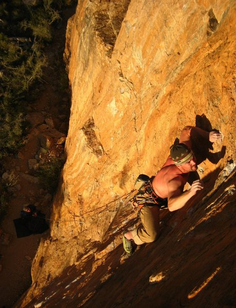 Rock Climbing Photo: Clay climbing the Wizard on a late February aftern...