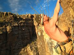 Rock Climbing Photo: At the top of The Wizard on a beautiful February a...