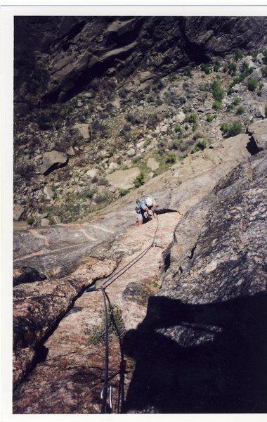 "Rock Climbing Photo: Finishing the ""peg flake"" on the Peg tra..."