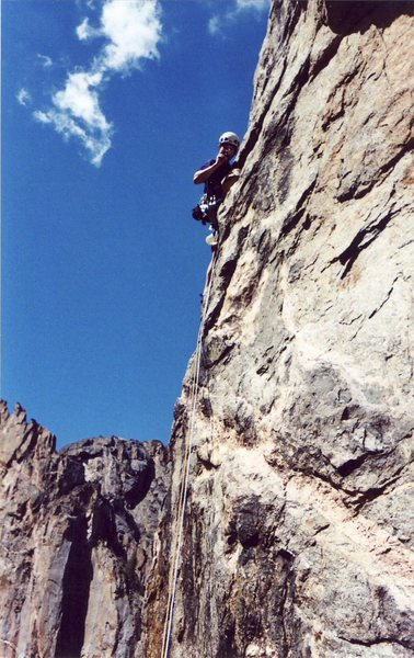 Rock Climbing Photo: 20 feet up pitch one at first protection, photo by...
