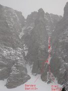 Rock Climbing Photo: The Wham Couloir showing the standard and direct s...