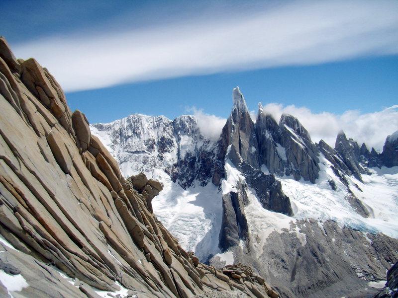 Rock Climbing Photo: Cerro Torre, Torre Egger, Punta Huron, and Cerro S...