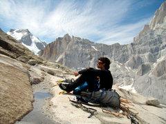 Rock Climbing Photo: A sitting man in front of Sitting Man.  Jan 11th. ...