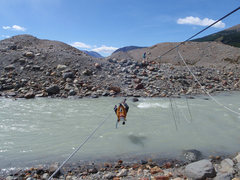 Rock Climbing Photo: Crossing the River at Lago Torre.  Photo by Jordon...