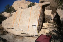 Rock Climbing Photo: Fat Lip Boulder Slab Topo