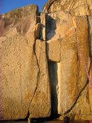 Rock Climbing Photo: Left side is the flaring slot beneath the small ro...