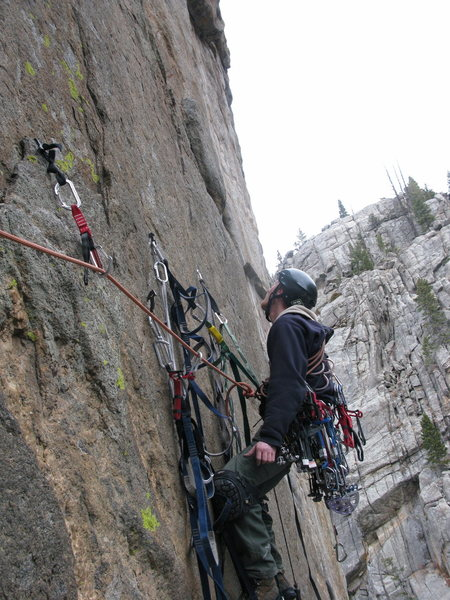 Rock Climbing Photo: I've made my way over onto the beaked RURP atop th...