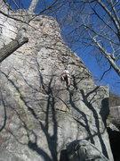 Rock Climbing Photo: Josh Bivins heading up Knob Wall on top rope.  Goo...