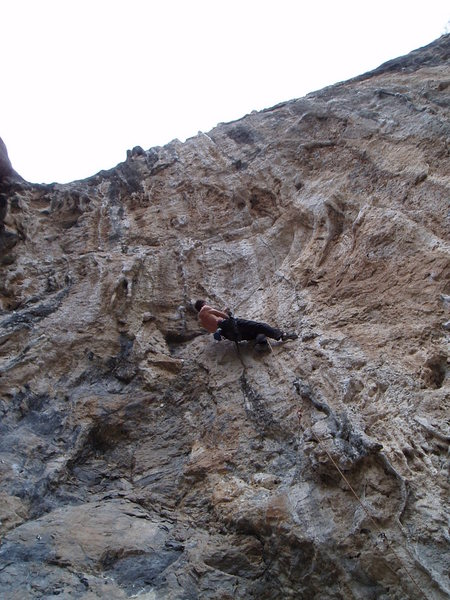 Rock Climbing Photo: Nearing the crux of Blucifer.