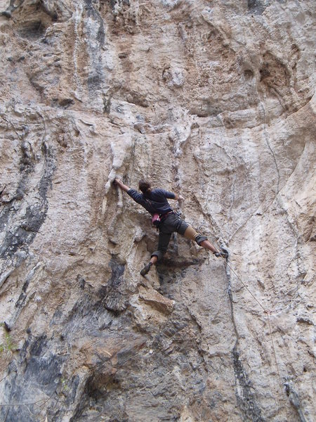 Rock Climbing Photo: Simon starting the crux sequence on Blucifer