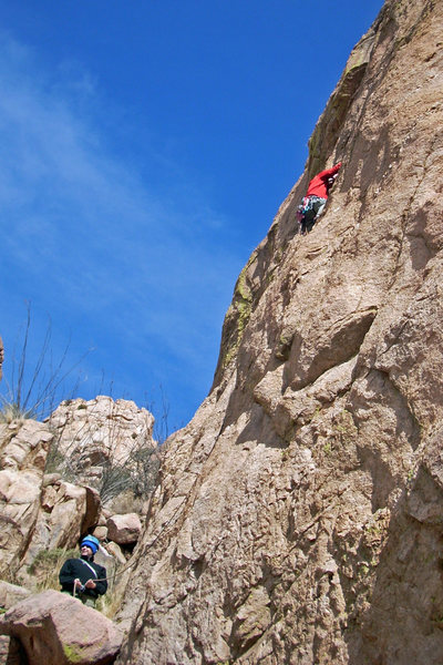 Rock Climbing Photo: John F belaying John A on Now It's My Turn 5.10 a/...