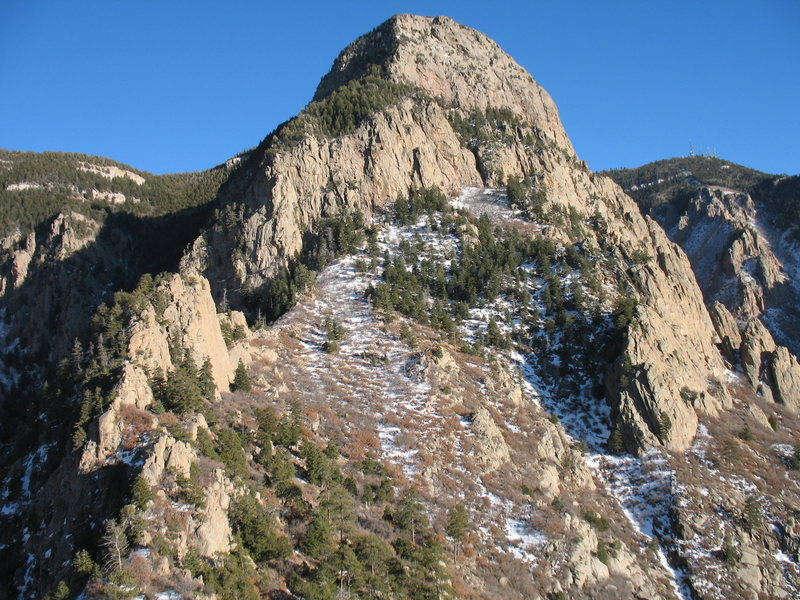 The Needle, west face, from the top of the Prow.  2/6/09