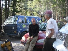 Rock Climbing Photo: Me with Fred Beckey at the base parking lot!  Wow!