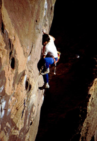 Rock Climbing Photo: Bob Horan crankin the crux mantle move on Fire and...
