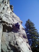 Rock Climbing Photo: A high step leads to better holds and some runout ...