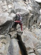 Rock Climbing Photo: A big stem and big stretch get you started. The pi...