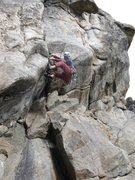 Rock Climbing Photo: The wall my feet are on overhangs a bit! Photo by ...