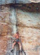 Rock Climbing Photo:  Shane Cobourn on Super Crack, 1980's