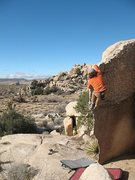 Rock Climbing Photo: The knife-edged Native Arete (V0), Joshua Tree NP