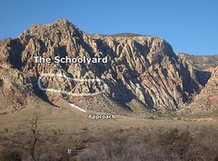 Rock Climbing Photo: The Schoolyard area from the First Creek Parking a...