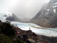 Rock Climbing Photo: Dropping down to the glacier Torre.  Dec 30th 2008...