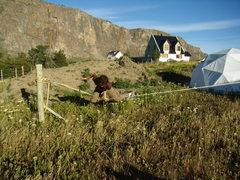 Rock Climbing Photo: Jordon slacklining- El Chalten. Jan 2009