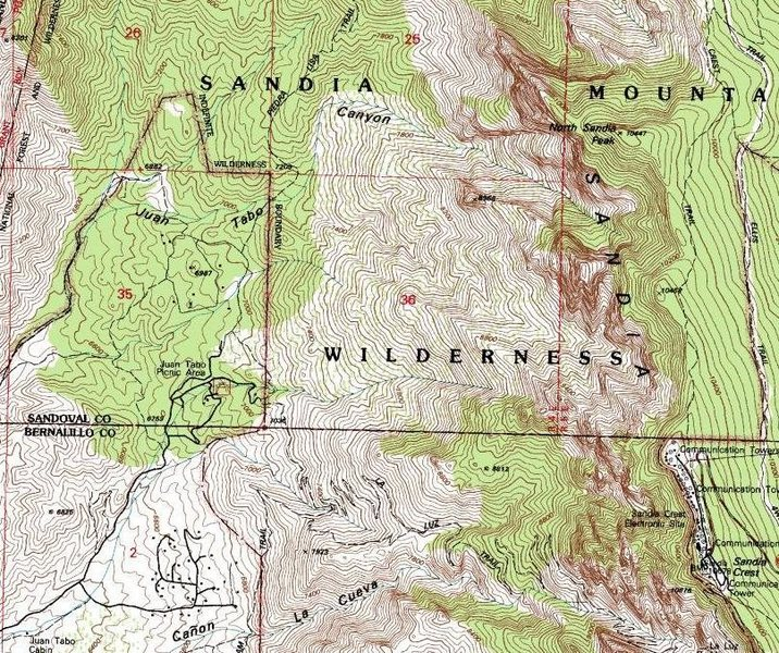 Juan Tabo Canyon & environs.  From USGS 7.5' Sandia Crest, NM topo, 1990.