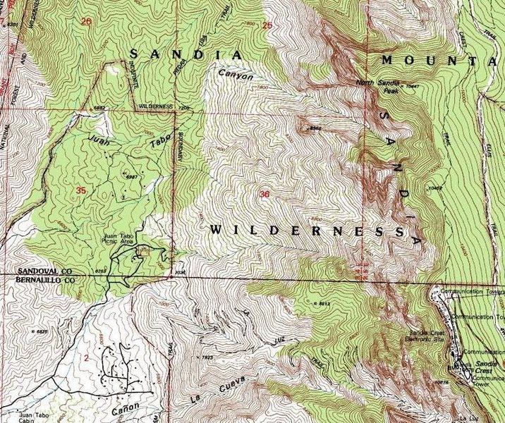 Rock Climbing Photo: Juan Tabo Canyon & environs.  From USGS 7.5' Sandi...