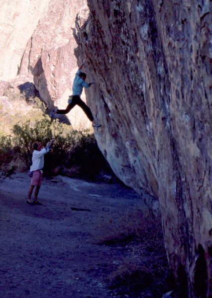 "Tom ""Hank"" Henry and Mike McCarron bouldering at the Mushroom Boulder, photo: Bob Horan."
