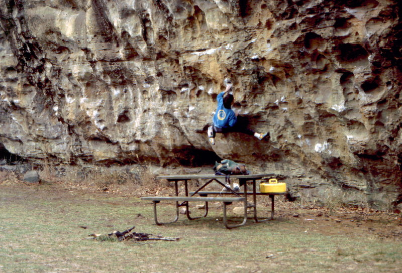 Bob Horan traversing the Makanda Bluff Traverse, Southern, Illinois.