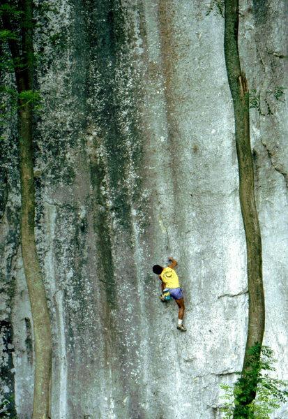 Bob Horan bouldering in the Frankenjura.