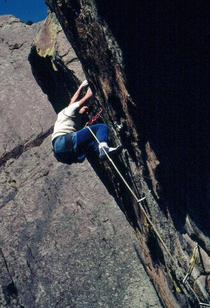 John Baldwin on 2nd lead of Fire on the Mountain, Skunk Canyon, photo: Bob Horan.