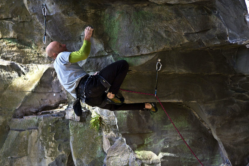 Rock Climbing Photo: Mercifully pulling through the crux on the FA.   P...
