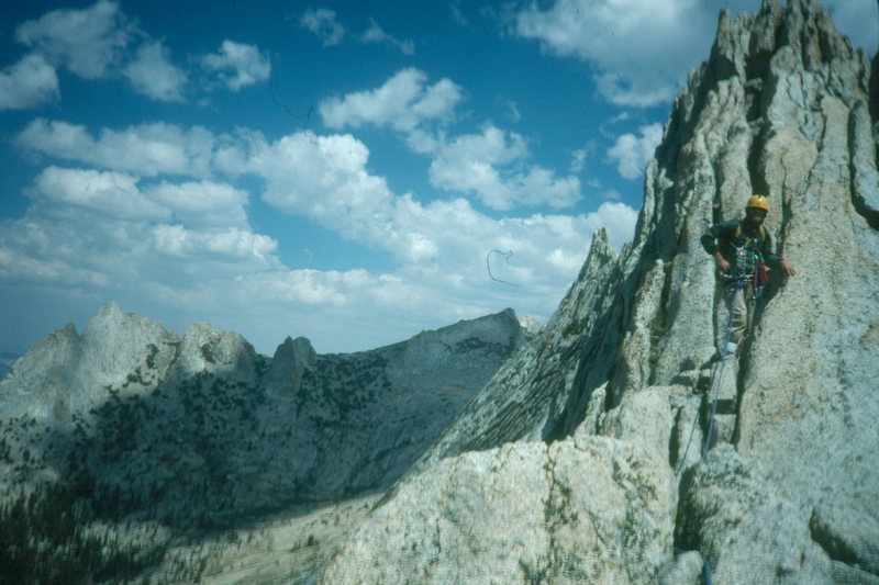 Matthes Crest, Yosemite. Cathedral Range in background.  This is unglaciated high-country granite, which should be compared with the rounded, polished domes of Tuoluome Meadows and Yosemite Valley.  This rough rock was too high to be smoothed by the glaciers that swept over Fairview Dome, Basket and Half Domes.