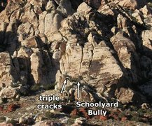 Rock Climbing Photo: Pop Quiz starts at the triple cracks and follows t...