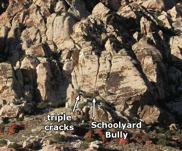 Sunday School goes up the center of the triple cracks.