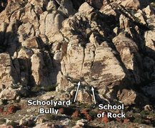 Rock Climbing Photo: School of Rock follows the right-hand chimney syst...