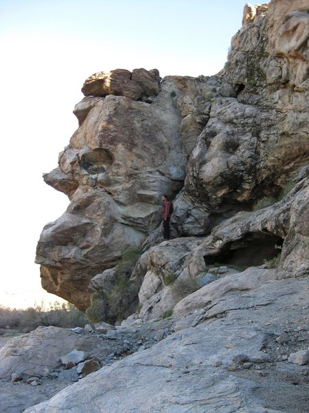 Can you make out the three rock faces (okay, I'm counting Jonny), and a giant ear (upper right corner)? FYI; The guy on the left has a birds nest eye.<br> <br> At Granite Springs while exploring more of the Old Mojave Road on a beautiful day.<br> <br> Taken 2/10/09