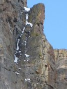 Rock Climbing Photo: Upper route as seen from Andrews Creek, well beyon...