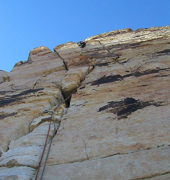 Rock Climbing Photo: High on the center of the triple cracks