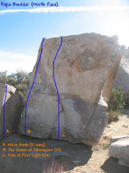 Photo/topo for Papa Boulder (North Face), Joshua Tree NP