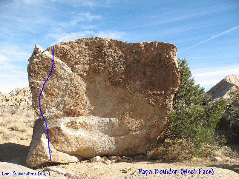 Photo/topo for Papa Boulder (West Face), Joshua Tree.<br>
