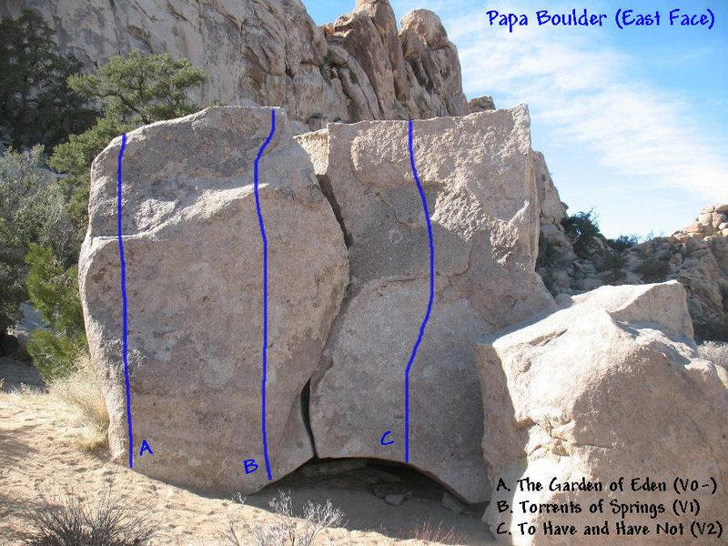Photo/topo for Papa Boulder (East Face), Joshua Tree.