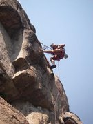 Rock Climbing Photo: Me cleaning the Dam Route. Stagecoach Reservoir, o...