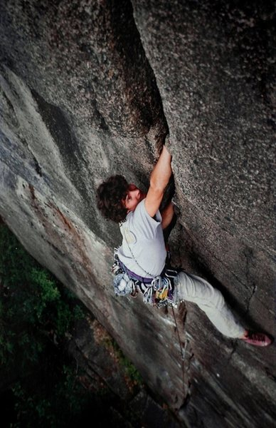 Greg Jackson on the great 'Nut Cracker', Barber Wall.<br> <br> (scan)
