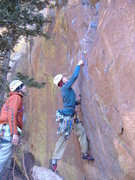 Rock Climbing Photo: Trying to get a piece on the direct (5.10) start t...