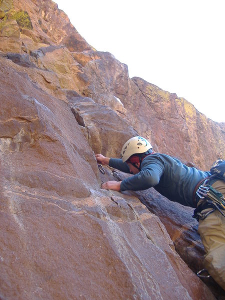 Rock Climbing Photo: Getting the first good gear, about 20' up (a 0.75 ...