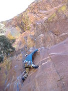 Rock Climbing Photo: After the crux on the Yellow Spur Direct Start.  A...