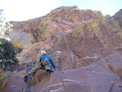 Rock Climbing Photo: Just past the crux on the P1 direct start.  Buen T...
