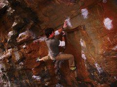 Rock Climbing Photo: Eric Green entering the crux of Orb Weaver V7